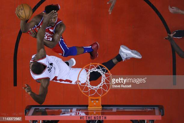 TORONTO ON MAY 12 Toronto Raptors center Serge Ibaka defends against Philadelphia 76ers guard Jimmy Butler as the Toronto Raptors beat the...