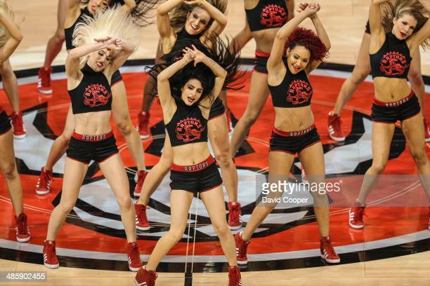 TORONTO ON APRIL 19 Toronto Raptors Dance Pak perform during a break in the game The Brooklyn Nets defeated the Toronto Raptors 9487 at the Air...