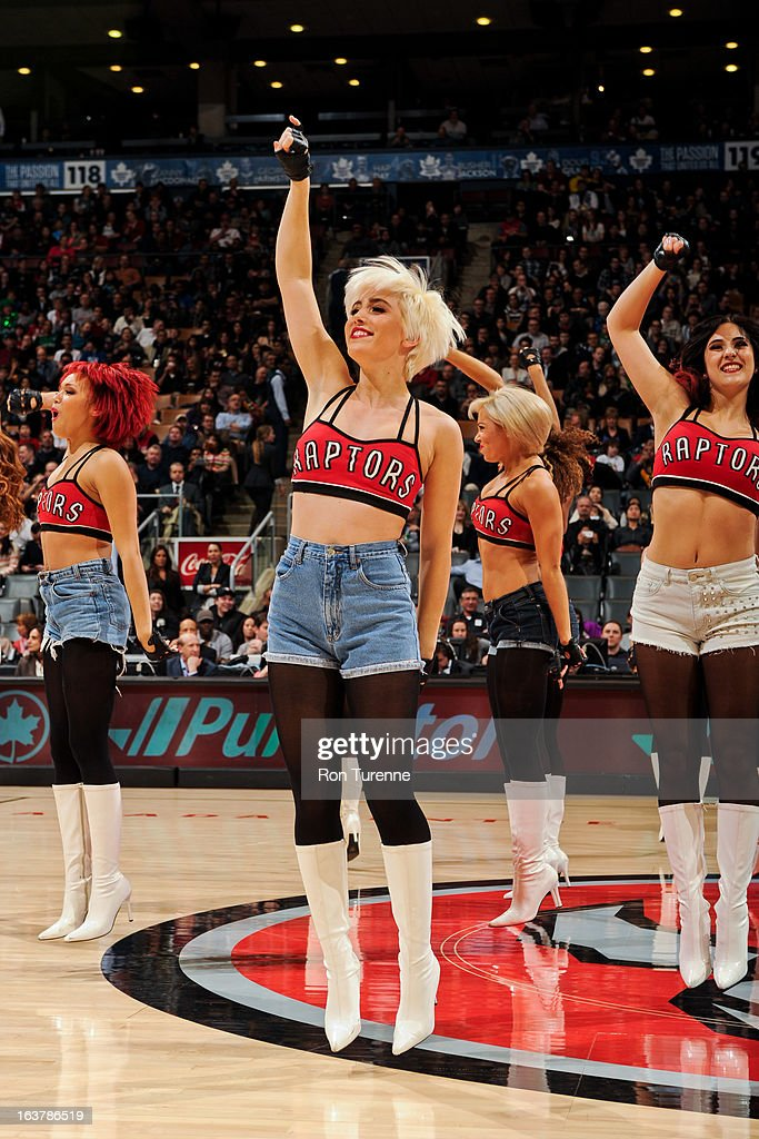 Toronto Raptors dancers perform during a game against the Charlotte Bobcats on March 15, 2013 at the Air Canada Centre in Toronto, Ontario, Canada.