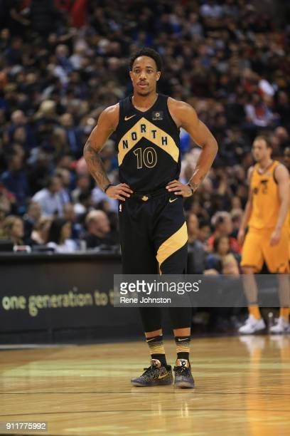 TORONTO ON JANUARY 26 Toronto Raptors DeMar DeRozan in the black and gold against the Utah Jazz in first half action