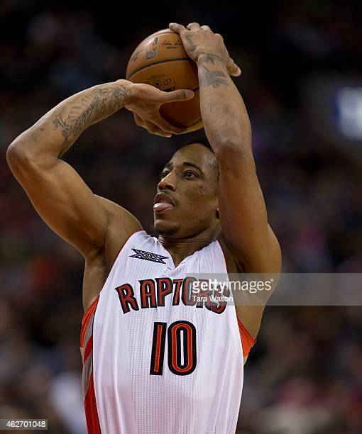 Toronto Raptors DeMar DeRozan takes a freethrow during Monday's game at the Air Canada Centre against the Milwaukee Bucks