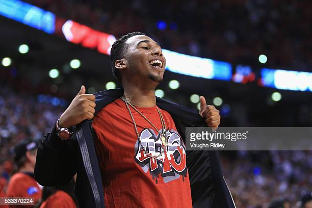Toronto Raptors fan cheers during game three of the Eastern Conference Finals between the Toronto Raptors and the Cleveland Cavaliers during the 2016...