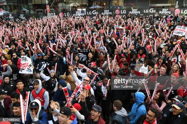 Toronto Raptors fans are seen before the game against the Milwaukee Bucks in Game Five of the Eastern Conference Quarterfinals during the 2017 NBA...
