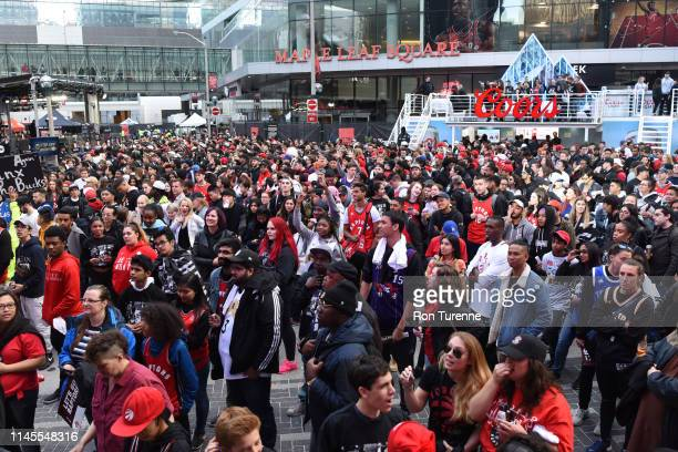Toronto Raptors fans are seen outside of the Scotiabank Arena before the game between the Toronto Raptors and Milwaukee Bucks in Game Four of the...