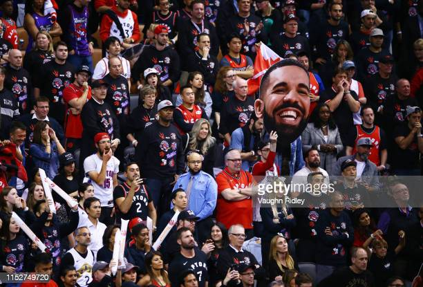 Toronto Raptors fans celebrate their teams 118109 win over the Golden State Warriors during Game One of the 2019 NBA Finals at Scotiabank Arena on...
