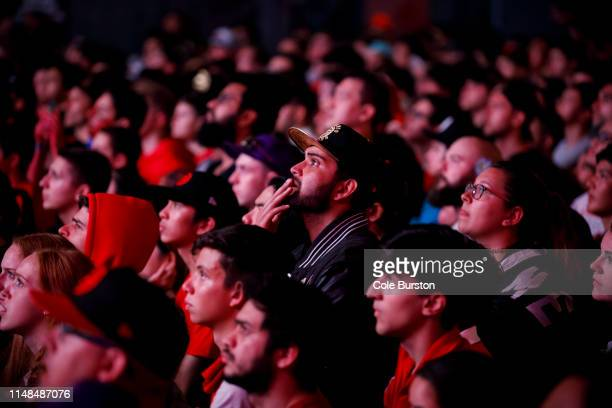 Toronto Raptors fans gather to watch Game 4 of the NBA Finals series outside Scotiabank Arena at 'Jurassic Park', on June 7, 2019 in Toronto, Canada.