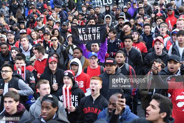 Toronto Raptors fans wait outside the arena before Game Two of the Eastern Conference Quarterfinals of the 2017 NBA Playoffs on April 18 2017 at the...