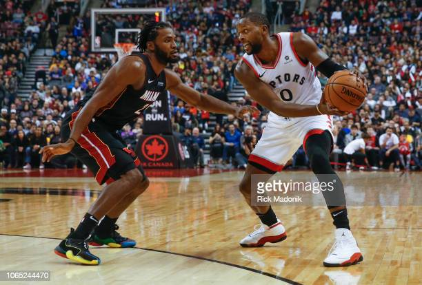 Toronto Raptors forward CJ Miles looks to drive on Miami Heat forward Justise Winslow Toronto Raptors vs New Orleans Pelicans in 1st half action of...