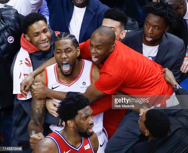 Toronto Raptors forward Kawhi Leonard celebrates after his shot drops for Raptors to win Toronto Raptors vs Philadelphia 76ers in2nd half action of...