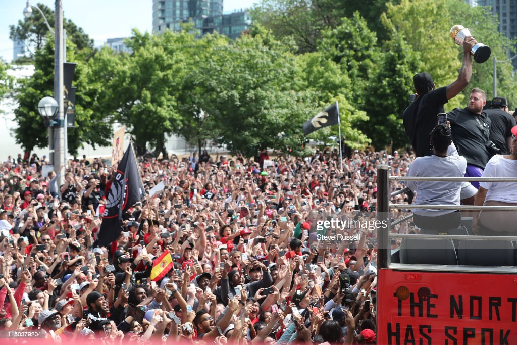 Toronto Raptors hold their victory parade after beating the Golden State Warriors in the NBA Finals : News Photo
