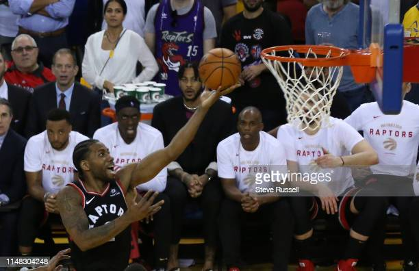 OAKLAND CA JUNE 5 Toronto Raptors forward Kawhi Leonard lays in a shot as the Toronto Raptors beat the Golden State Warriors in game three of the NBA...