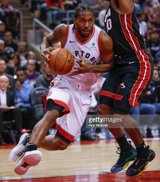 Toronto Raptors forward Kawhi Leonard puts his shoulder down and drives to the hoop Toronto Raptors vs New Orleans Pelicans in 1st half action of NBA...