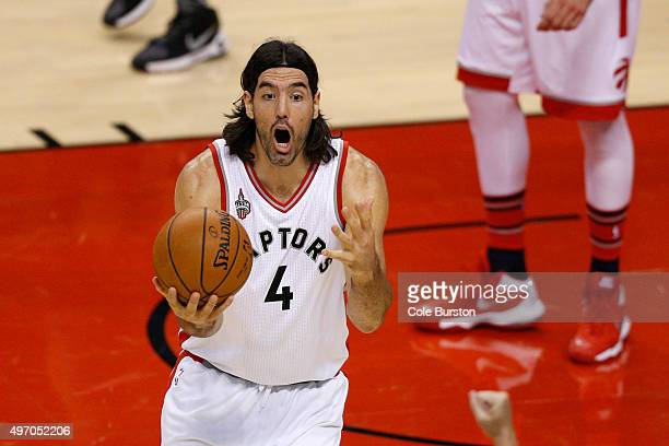 TORONTO ON NOVEMBER 13 Toronto Raptors forward Luis Scola reacts to the ref during NBA basketball action against the New Orleans Pelicans at the Air...