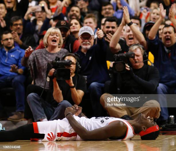 Toronto Raptors forward Pascal Siakam screams in joy after a hard foul on him Toronto Raptors vs New Orleans Pelicans in 2nd half action of NBA...