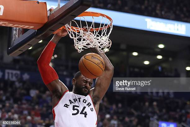 TORONTO ON DECEMBER 16 Toronto Raptors forward Patrick Patterson dunks as the Toronto Raptors lose to the Atlanta Hawks 125121 at the Air Canada...