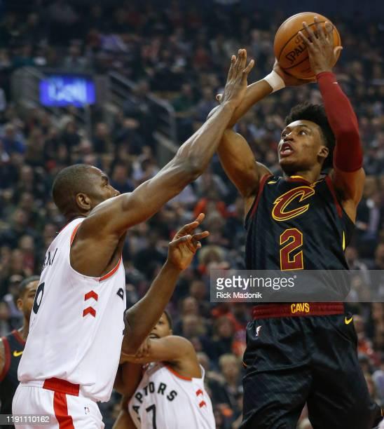 Toronto Raptors forward Serge Ibaka defends against Cleveland Cavaliers guard Collin Sexton Toronto Raptors vs Cleveland Cavaliers in 1st half action...