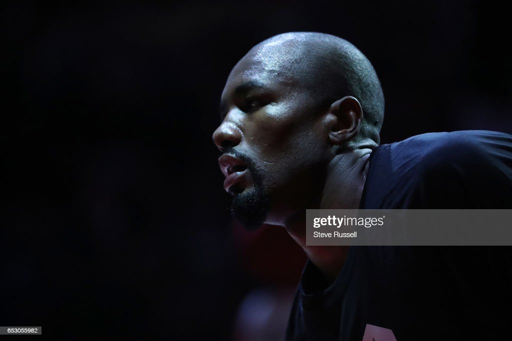 TORONTO, ON- MARCH 13 - Toronto Raptors forward Serge Ibaka (9) during player introductions as the Toronto Raptors beat the Dallas Mavericks 100-78 at the Air Canada Centre in Toronto. March 13, 2017.