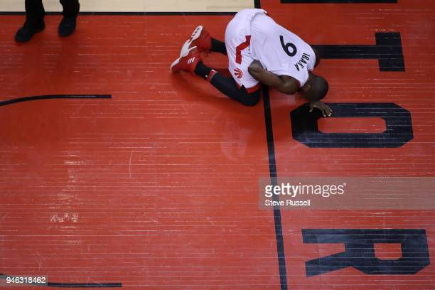 TORONTO ON APRIL 14 Toronto Raptors forward Serge Ibaka recovers after getting hit in a sensitive area as the Toronto Raptors open the first round of...