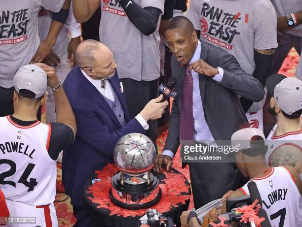 Toronto Raptors General Manager Masai Ujiri addresses the crowd after defeating the Milwaukee Bucks in Game Six of the NBA Eastern Conference Final...