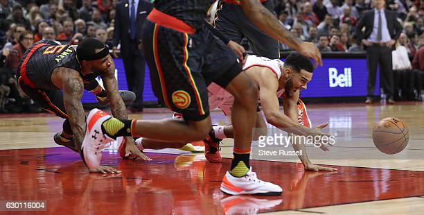 Toronto Raptors guard Cory Joseph is fouled as the Toronto Raptors lose to the Atlanta Hawks 125-121 at the Air Canada Centre in Toronto. December...