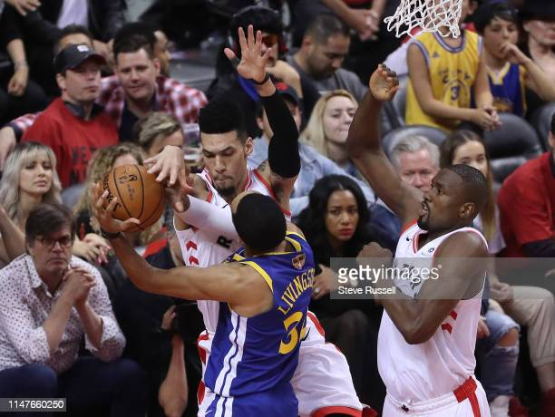 TORONTO ON JUNE 2 Toronto Raptors guard Danny Green defends against Golden State Warriors guard Shaun Livingston as the Toronto Raptors play the...