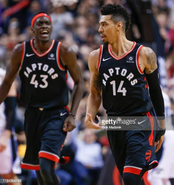 Toronto Raptors guard Danny Green knocks down his 3rd 3 in the quarter as Toronto Raptors forward Pascal Siakam yells his approval Toronto Raptors vs...