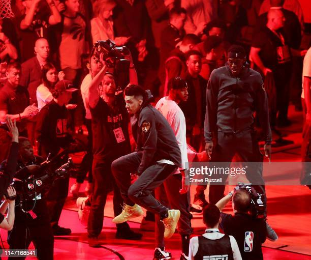 TORONTO ON MAY 30 Toronto Raptors guard Danny Green leaps after being introduced as the Toronto Raptors beat the Golden State Warriors in game One of...