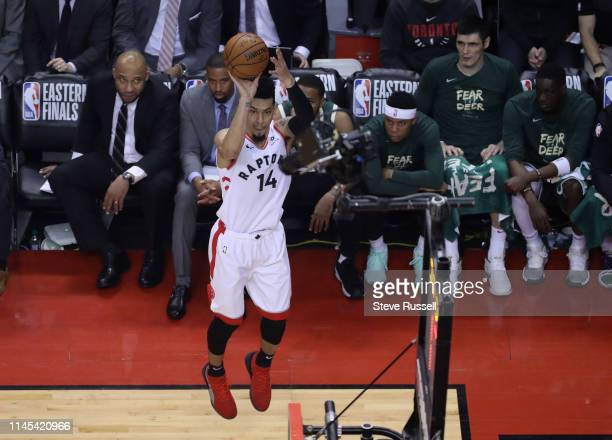 TORONTO ON MAY 21 Toronto Raptors guard Danny Green puts up a three pointer as the Toronto Raptors play the Milwaukee Bucks in game four of the...
