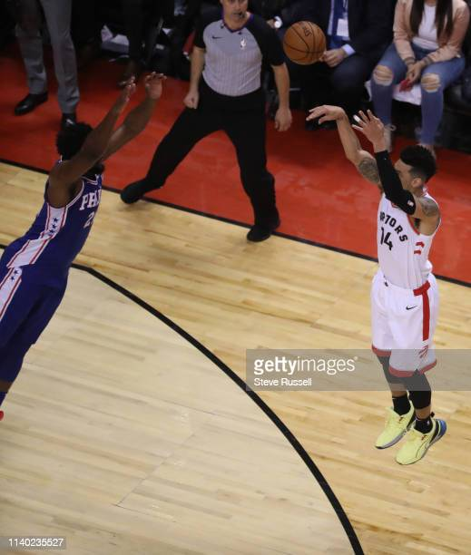 TORONTO ON APRIL 29 Toronto Raptors guard Danny Green puts up a three pointer that misses with seconds left on the clock as the Toronto Raptors play...