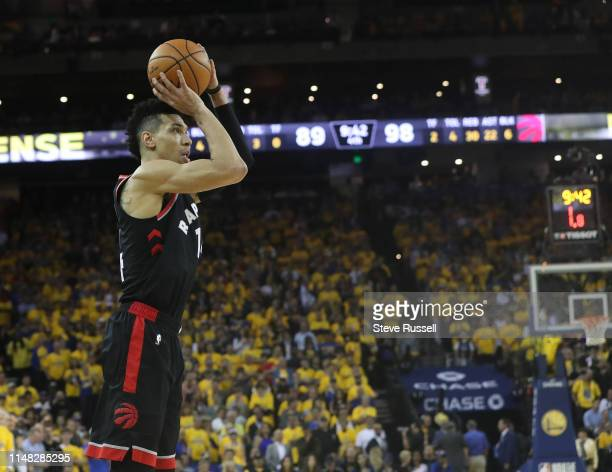 OAKLAND CA JUNE 5 Toronto Raptors guard Danny Green shots a three point attempt as the Toronto Raptors beat the Golden State Warriors in game three...