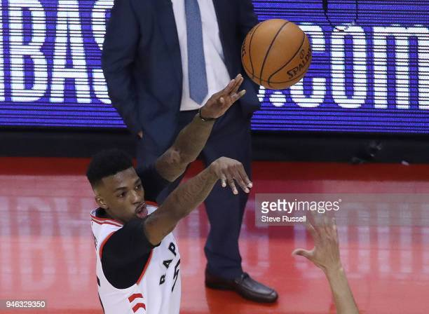 TORONTO ON APRIL 14 Toronto Raptors guard Delon Wright hits a three pointer late in the game as the Toronto Raptors open the first round of the NBA...
