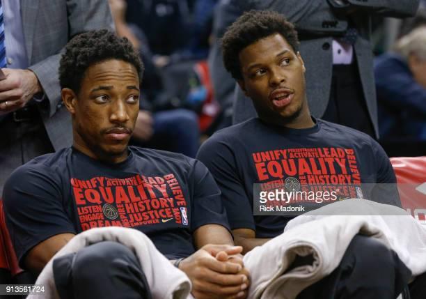 Toronto Raptors guard DeMar DeRozan and Toronto Raptors guard Kyle Lowry on the bench prior to game start Toronto Raptors vs Portland Trail Blazers...