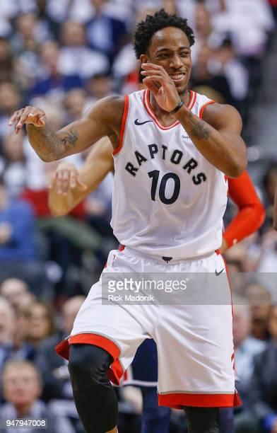 Toronto Raptors guard DeMar DeRozan celebrates a play Toronto Raptors vs Washington Wizzards in 2nd half action of Game 2 of NBA Eastern Conference...