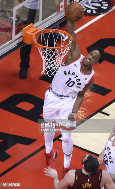 TORONTO ON MAY 3 Toronto Raptors guard DeMar DeRozan dunks as the Toronto Raptors play the Cleveland Cavaliers in the second round of the NBA...