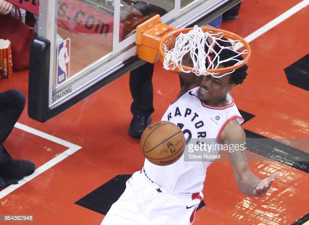 Toronto Raptors guard DeMar DeRozan dunks as the Toronto Raptors play the Cleveland Cavaliers in the second round of the NBA playoffs at the Air...