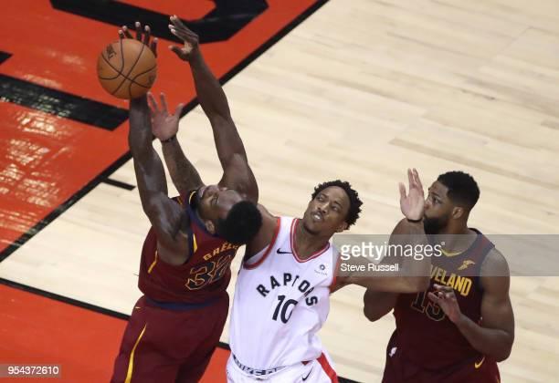 Toronto Raptors guard DeMar DeRozan fouls Cleveland Cavaliers forward Jeff Green as the Toronto Raptors play the Cleveland Cavaliers in the second...