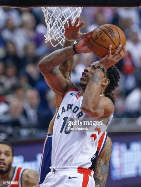 Toronto Raptors guard DeMar DeRozan goes hard to the iron Toronto Raptors vs Washington Wizzards in 1st half action of Game 2 of NBA Eastern...