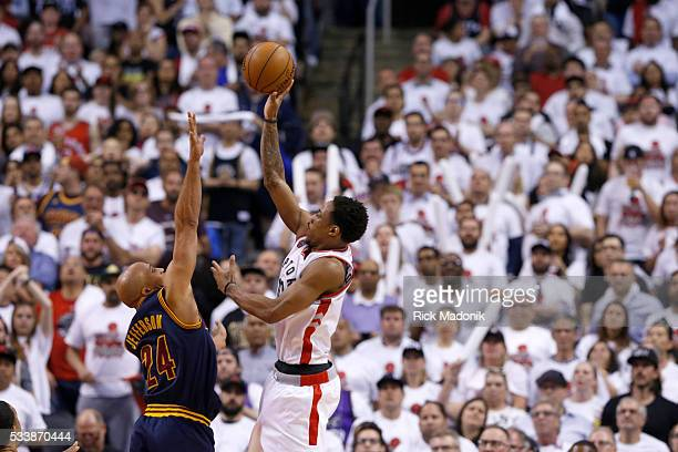 Toronto Raptors guard DeMar DeRozan makes another of his two as Cleveland Cavaliers forward Richard Jefferson with minutes running out Toronto...