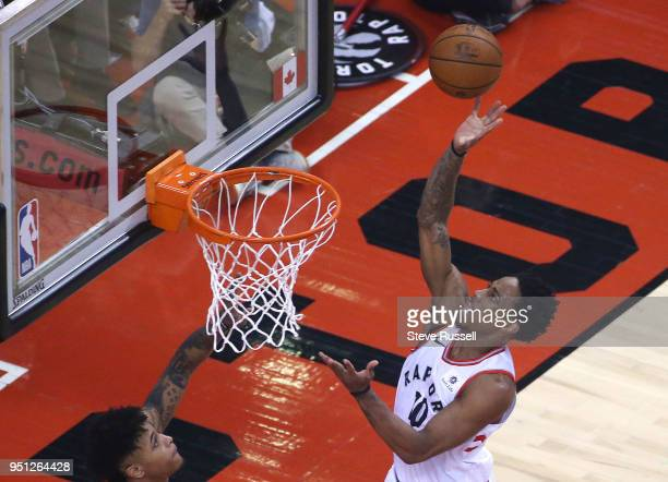 TORONTO ON APRIL 25 Toronto Raptors guard DeMar DeRozan puts up a shot as the Toronto Raptors play game five of their first round of the NBA playoffs...
