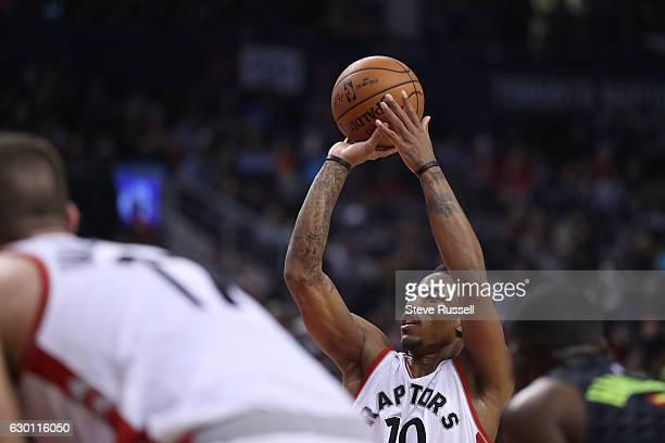 Toronto Raptors guard DeMar DeRozan takes foul shots as the Toronto Raptors lose to the Atlanta Hawks 125-121 at the Air Canada Centre in Toronto....