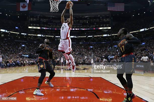 Toronto Raptors guard DeMar DeRozan would miss this dunk as the Toronto Raptors play the Atlanta Hawks at the Air Canada Centre in Toronto. December...