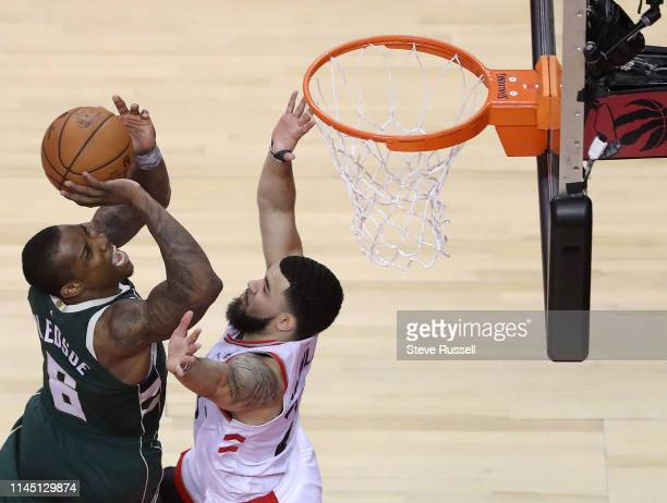 Toronto Raptors guard Fred VanVleet defends against Milwaukee Bucks guard Eric Bledsoe as the Toronto Raptors play the Milwaukee Bucks in the Eastern...