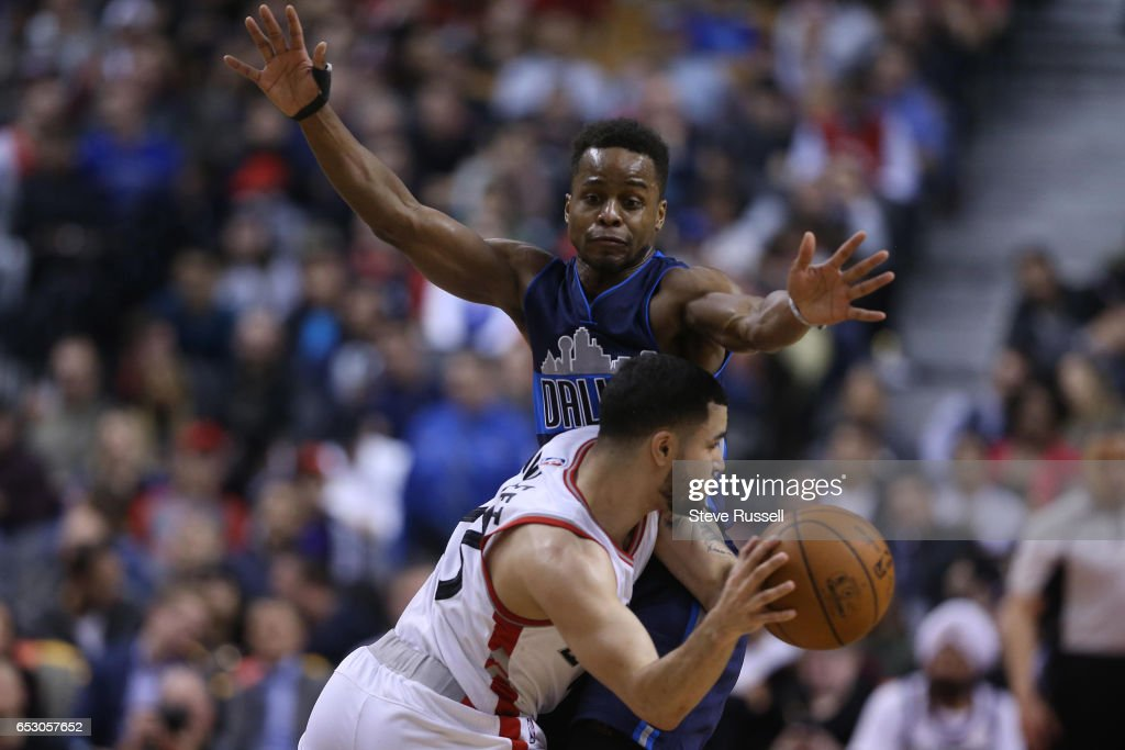 TORONTO, ON- MARCH 13 - Toronto Raptors guard Fred VanVleet (23) looks to get around a defender as the Toronto Raptors beat the Dallas Mavericks 100-78 at the Air Canada Centre in Toronto. March 13, 2017.