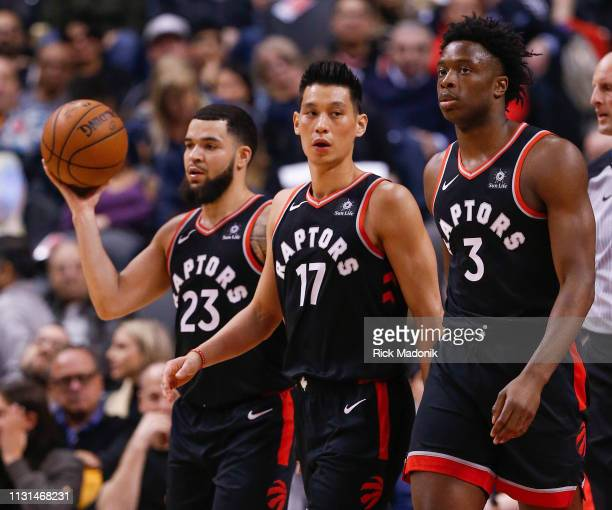 Toronto Raptors guard Fred VanVleet Toronto Raptors guard Jeremy Lin and Toronto Raptors forward OG Anunoby coming off the court at a time out...