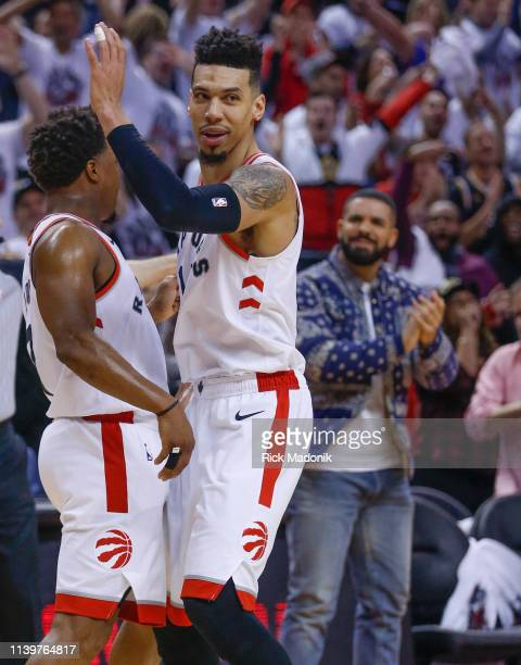 Toronto Raptors guard Kyle Lowry and Toronto Raptors guard Danny Green celebrate Toronto Raptors vs Philadelphia 76ers in 2nd half action of Round 2...