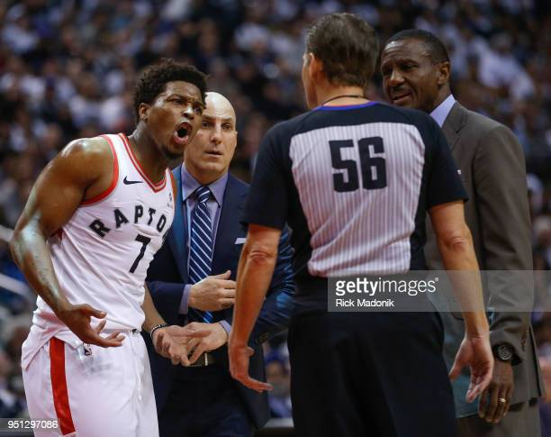 Toronto Raptors guard Kyle Lowry argues his case with referee Mark Ayotte Toronto Raptors vs Washington Wizards in 1st half action of Game 5 of NBA...