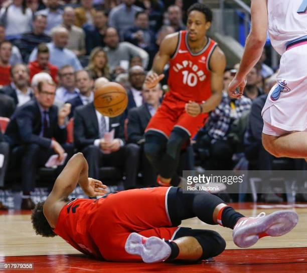 Toronto Raptors guard Kyle Lowry dishes to Toronto Raptors guard DeMar DeRozan as he falls to the floor Toronto Raptors vs Miami Heat in 1st half...