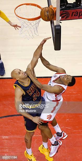 Toronto Raptors guard Kyle Lowry goes to the bucket despite the effort of Cleveland Cavaliers forward Richard Jefferson Toronto Raptors vs Cleveland...