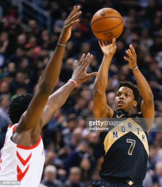 Toronto Raptors guard Kyle Lowry puts up a three ball Toronto Raptors vs Houston Rockets in 1st half action of NBA regular season play at Air Canada...