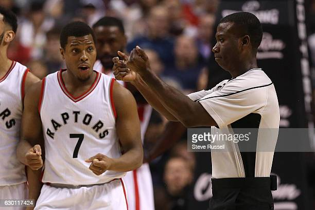 Toronto Raptors guard Kyle Lowry questions a foul and would get a technical foul as well as the Toronto Raptors lose to the Atlanta Hawks 125-121 at...